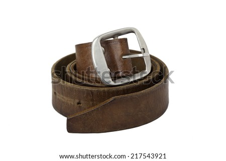 Rolled used mens leather belt with metal buckle isolated on white - stock photo
