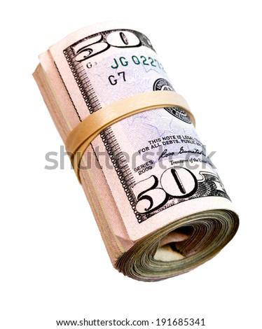 Rolled Wad Fifty Dollar Bills American Money Cash Tender - stock photo