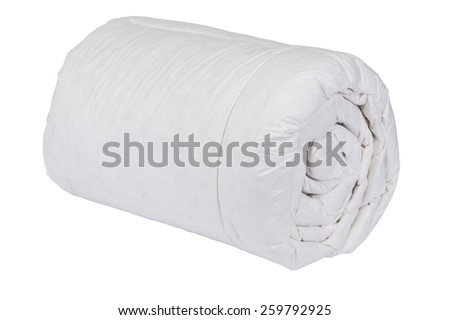 Rolled white duvet cover on white isolated background - stock photo