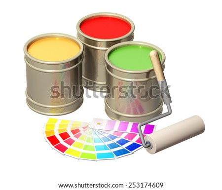 Roller and paints in metal banks. Isolated on white background - stock photo