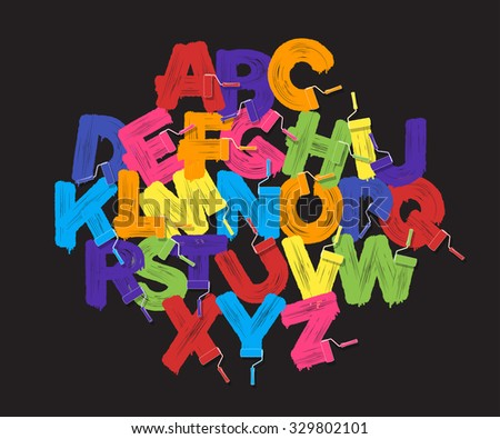 Roller brush alphabet font set. Bright colors paint rollers on black background - stock photo