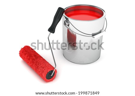 Roller brush and can re print isolated on white background - stock photo