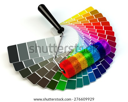 Roller brush and color guide palette in rainbow colors. 3d - stock photo