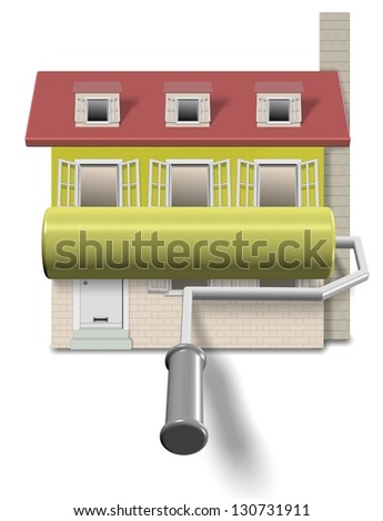 Roller brush going over a house front wall / Renovation - stock photo