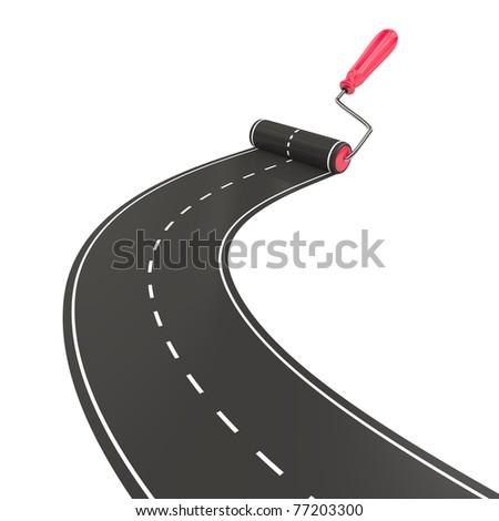 Roller brush painting asphalt - stock photo