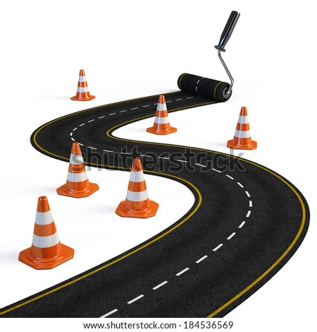 Roller brush painting road - Road construction concept - stock photo
