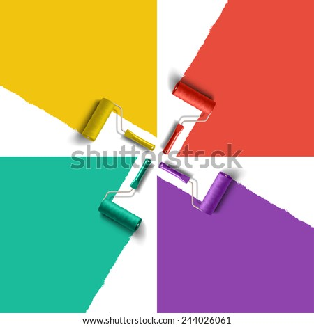 roller brush with different color paint - stock photo
