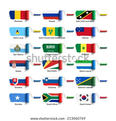 roller brush with national flag - stock photo