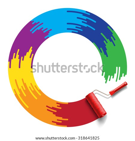 roller brush with rainbow ring - stock photo