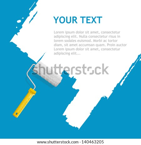 Roller brush with white paint for text - stock photo