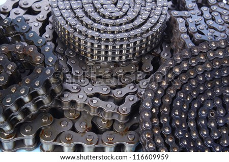roller chains for machines close up - stock photo