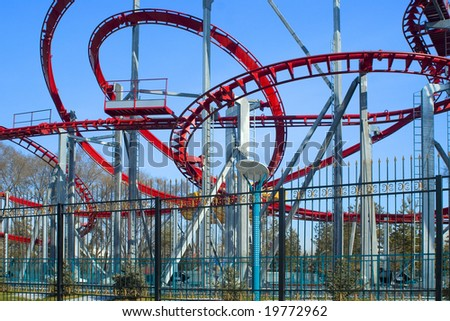 Roller coaster and blue sky in spring city