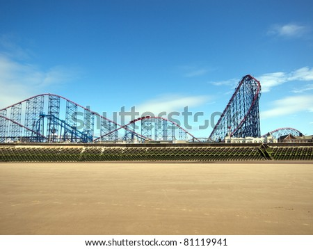 Roller coaster at Blackpool - stock photo