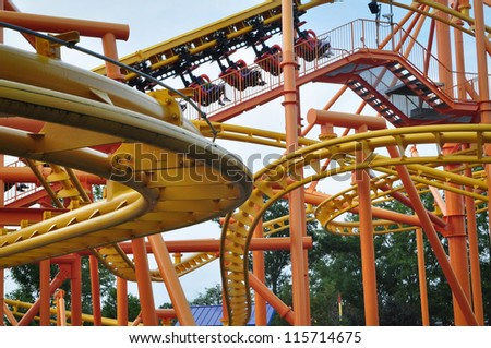 Roller Coaster in Amusement Park - stock photo