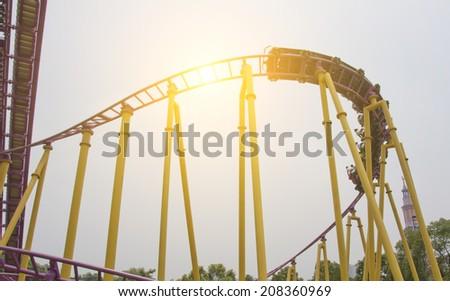 Roller coaster in amusement park  - stock photo
