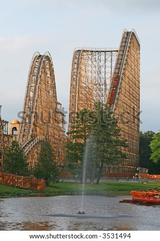 Roller coaster in an amusement park, in USA - stock photo