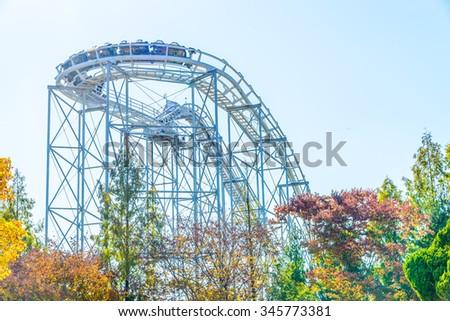 Roller coaster in korea park - stock photo