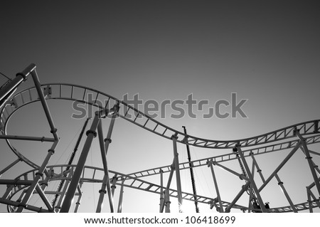 Roller-coaster in the Coney Island Astroland Amusement Park, Usa. Black and white image. - stock photo