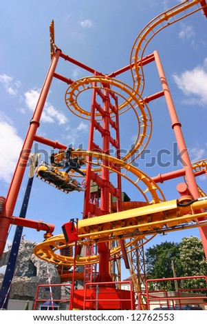 Roller coaster in the Prater in Vienna - stock photo