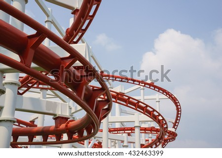 roller coaster in theme park looks fun - stock photo