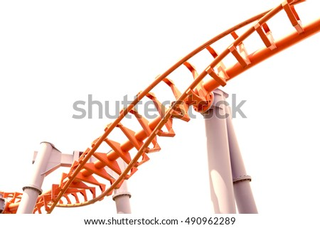 Roller coaster isolated on white background