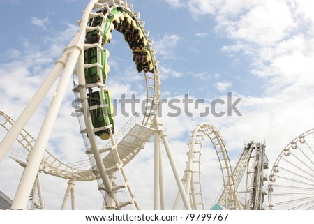 roller coaster looping - stock photo