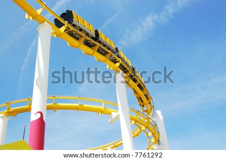 Roller Coaster on Santa Monica Pier - stock photo