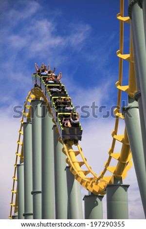 Roller coaster rail on sunny day  - stock photo