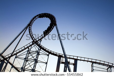 Roller Coaster Super Loop. - stock photo