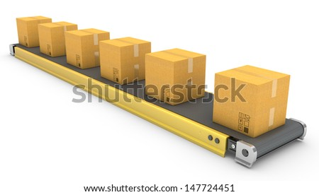 Roller conveyor with carton boxes isolated on white background - stock photo