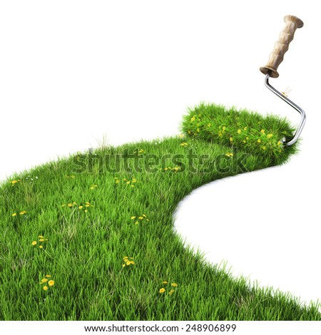 roller draws the road from the green grass. isolated on white. - stock photo