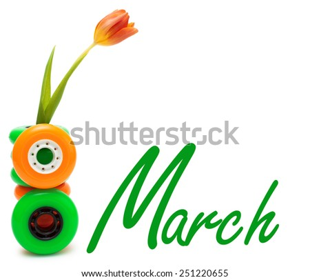 Roller greeting card on March 8: tulip in stack of wheels. Isolated on white.