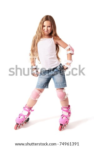 Roller skater child girl on the rollers. Driving on roller skates. Smiling girl on the roller-skates isolated on white background. - stock photo