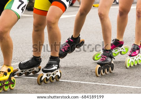roller skaters with inline skates in circuit