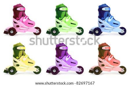 roller skates isolated on a white background - stock photo