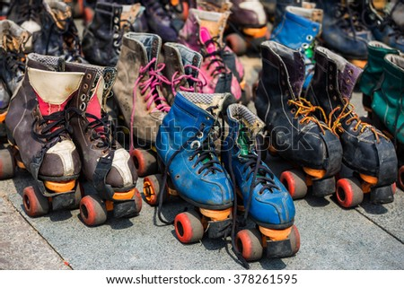 Roller skates, retro style - stock photo