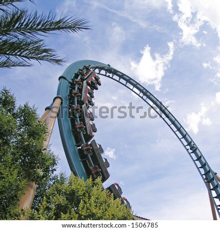 rollercoaster and sky - stock photo