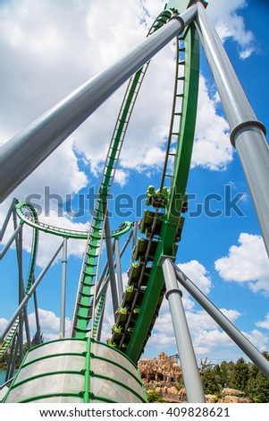 Rollercoaster in the amusement park in Universal studious, Orlando, Florida - stock photo