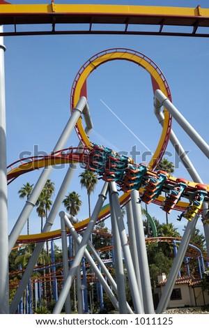 Rollercoaster park. Loop. - stock photo