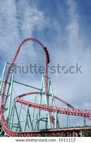 Rollercoaster park. Steep downhill track. - stock photo