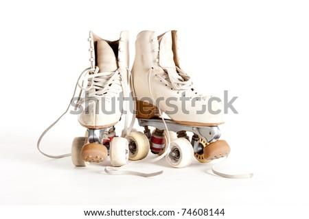 rollin skates isolated on white background - stock photo