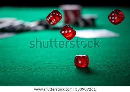 Rolling Casino Dice - stock photo