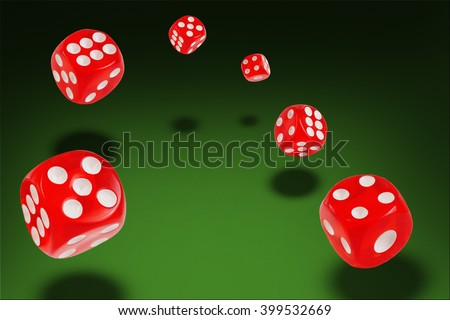 Rolling  dice flying at the poker table. 3D illustration - stock photo