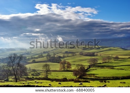 Rolling English Countryside near Staveley in the English Lake District - stock photo
