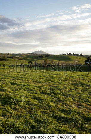 Rolling farmland and sky, New Zealand