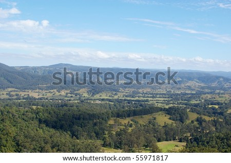 rolling hills and pasture of the sunshine coast hinterland - stock photo