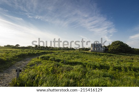 Rolling hills and trails, Martha's Vineyard - stock photo