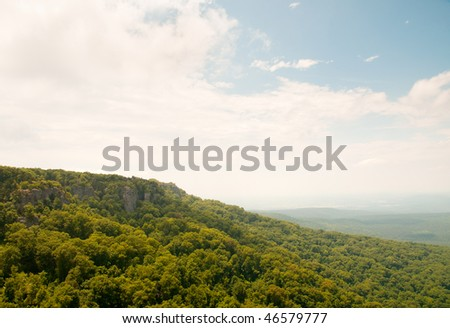 rolling hills from Mount Magazine - stock photo