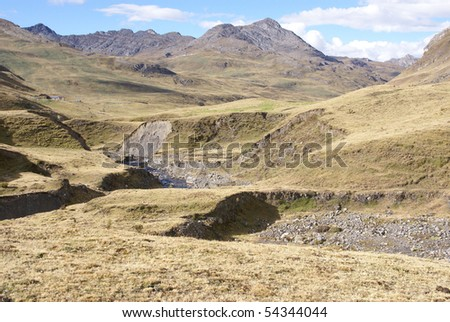 Rolling hills in broad glacial valley,Cordillera Huayhuash, Andes,Peru, South America