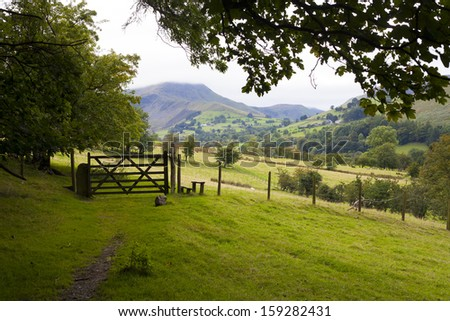 Rolling hills in Lake District, UK - stock photo